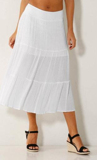 Polodlouhá letní sukně s volány