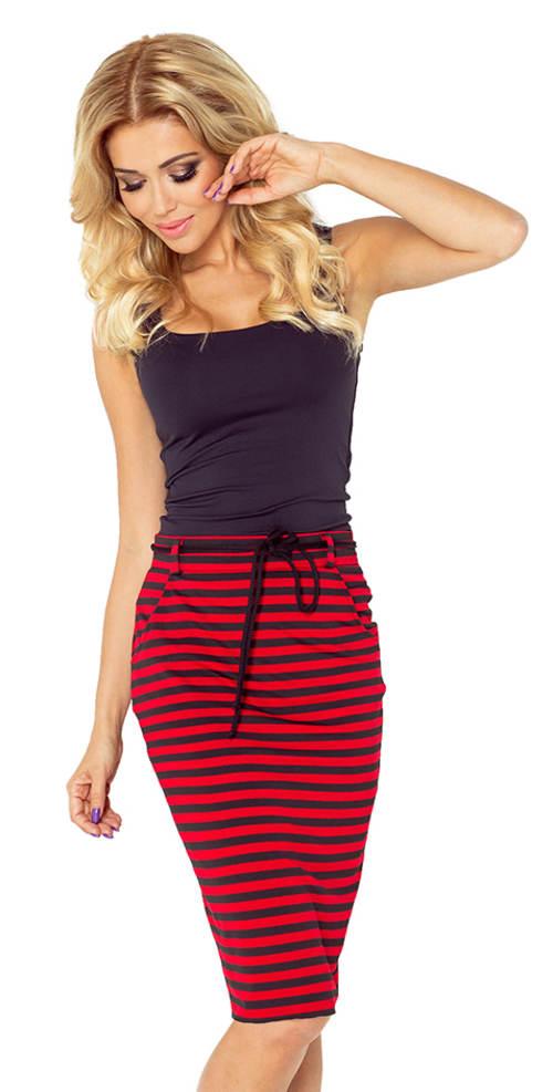 Pruhovaná dámská sukně s kapsami a šňůrkou