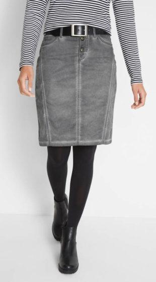 4be536e4763 Šedá džínová sukně ke kolenům used vzhledu