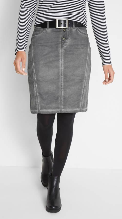 Šedá džínová sukně ke kolenům used vzhledu
