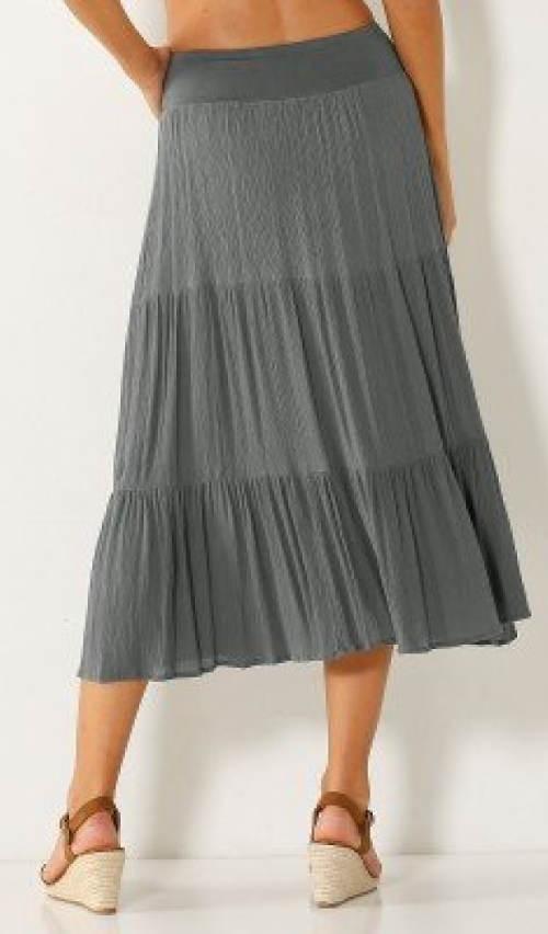 Šedá letní polodlouhá sukně
