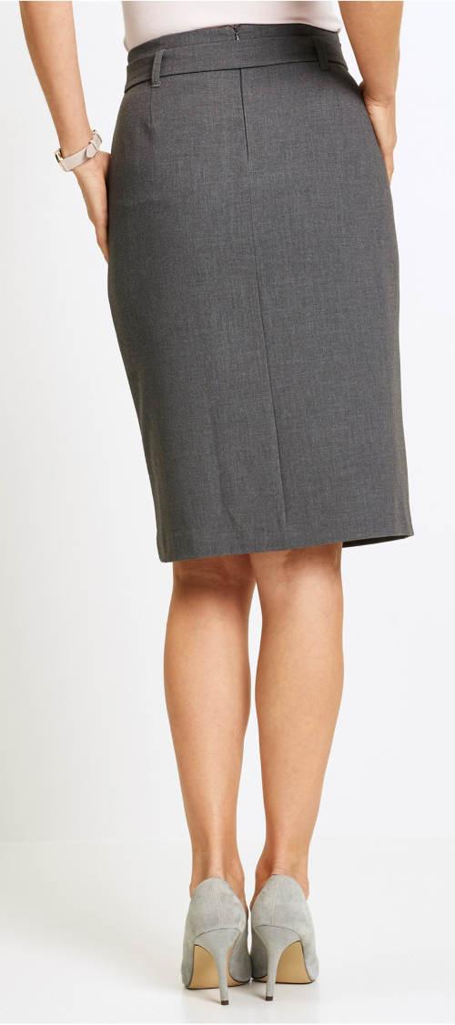 Šedá společenská sukně ke kolenům