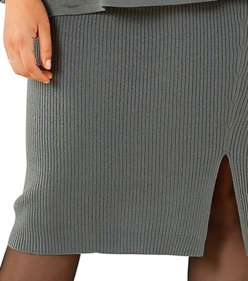 Šedá úpletová sukně pro starší