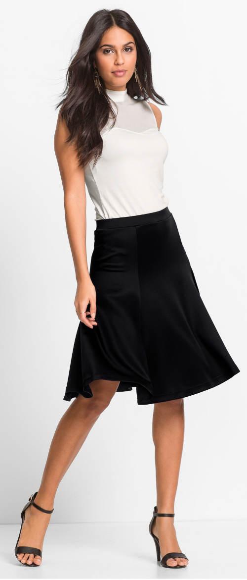 Širší černá společenská sukně ke kolenům