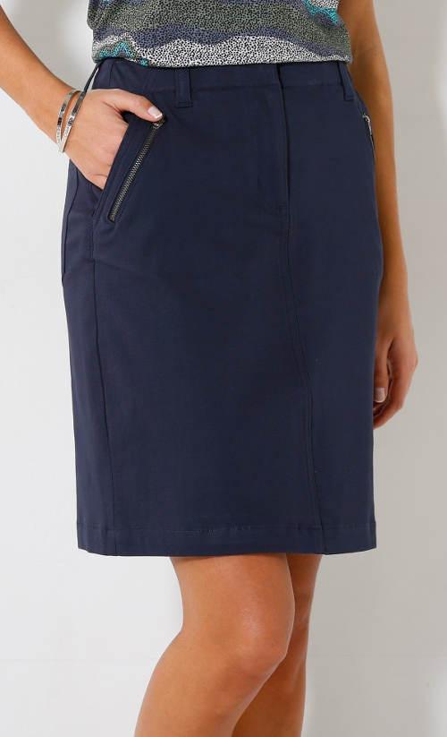 Tmavě modrá sukně se zipy