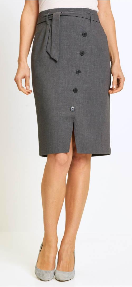 Tužková společenská sukně se zavazovacím páskem