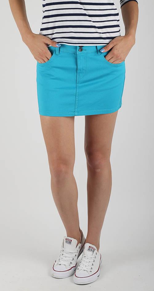 Tyrkysová džínová mini sukně