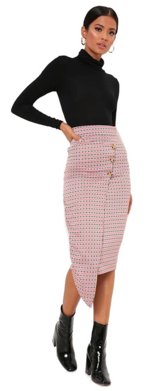 Vyšší jarní sukně s tartan kostkovaným vzorem