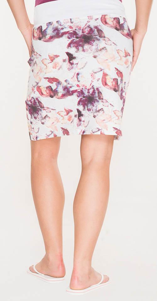 Bílo-fialová květovaná sukně