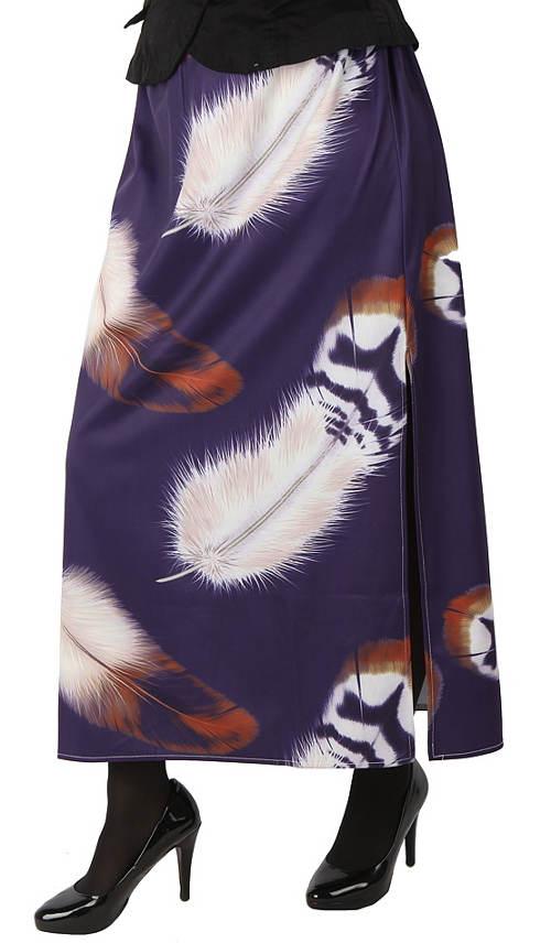 Dlouhá dámská sukně s potiskem pírek