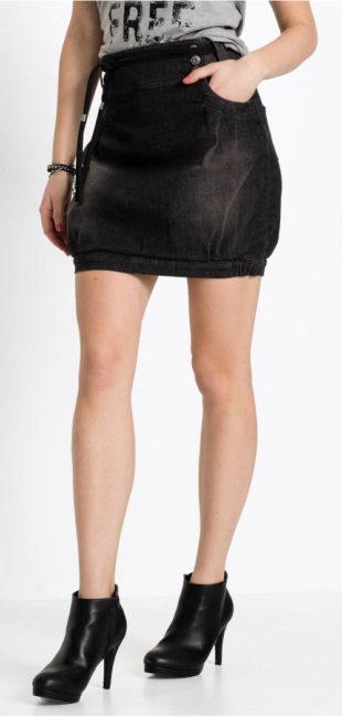 Krátká džínová sukně balonového střihu