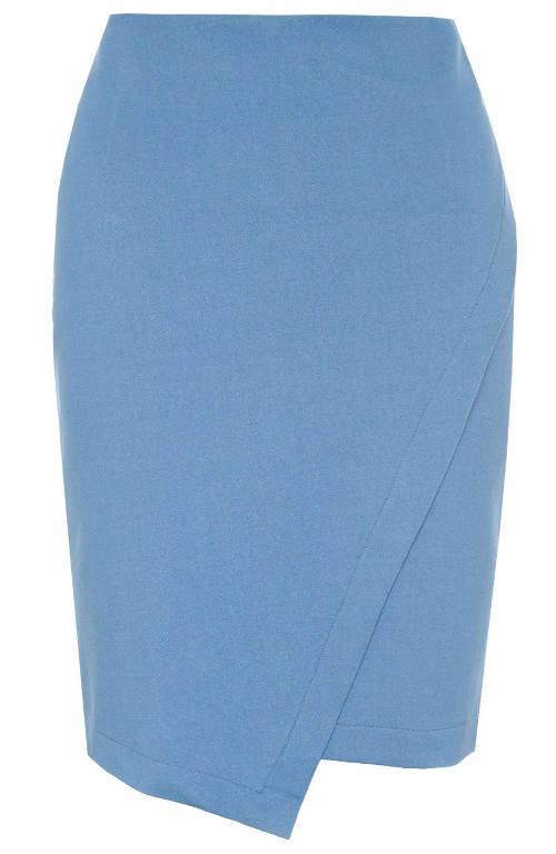 Levná modrá zavinovací sukně