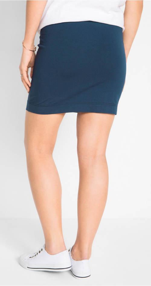 Modrá strečová krátká sukně
