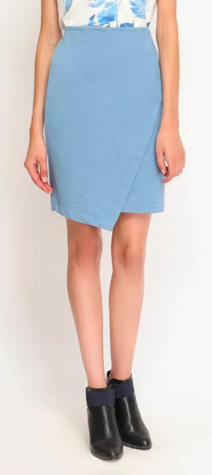 Zavinovací světle modrá společenská sukně Top Secret