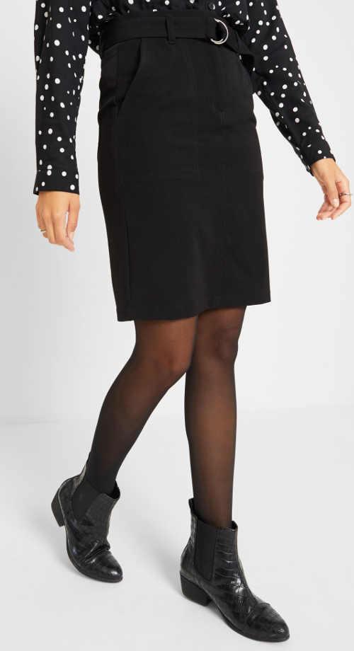 Černá cargo sukně s opaskem