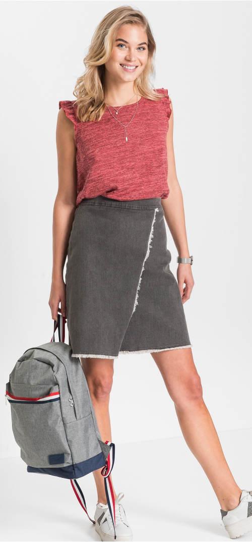Áčková džínová sukně zavinovacího vzhledu