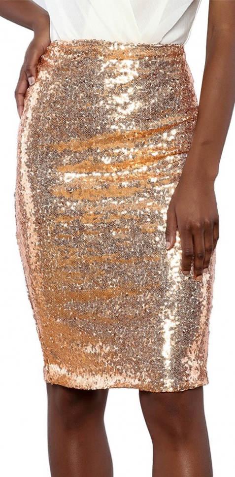 Béžová flitrová sukně stříbrně-zlatého lesklu
