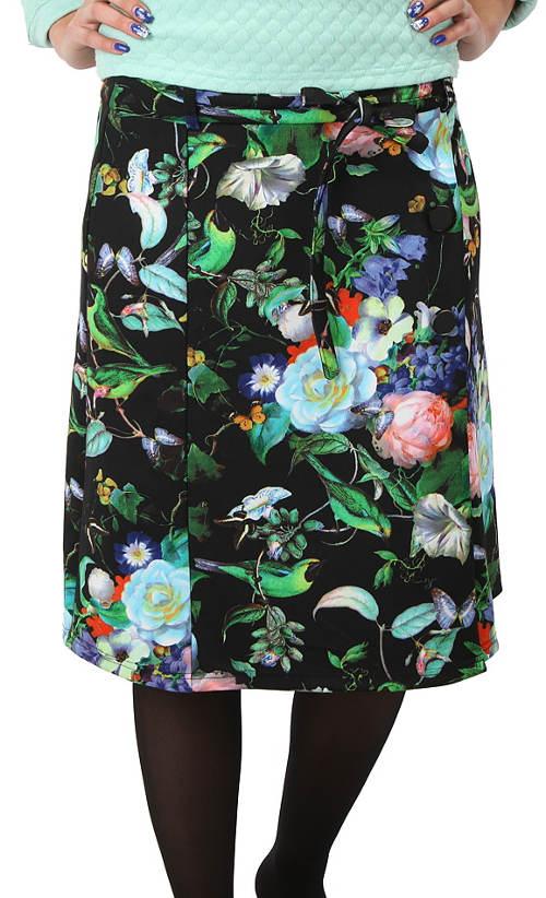 Černá květinová zavinovací sukně