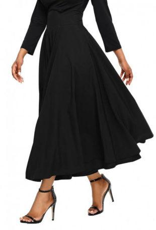 Černá společenská maxi sukně s vysokým pasem