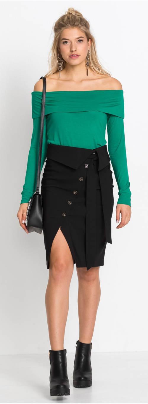 Dámská sukně s rozparkem pod knoflíky