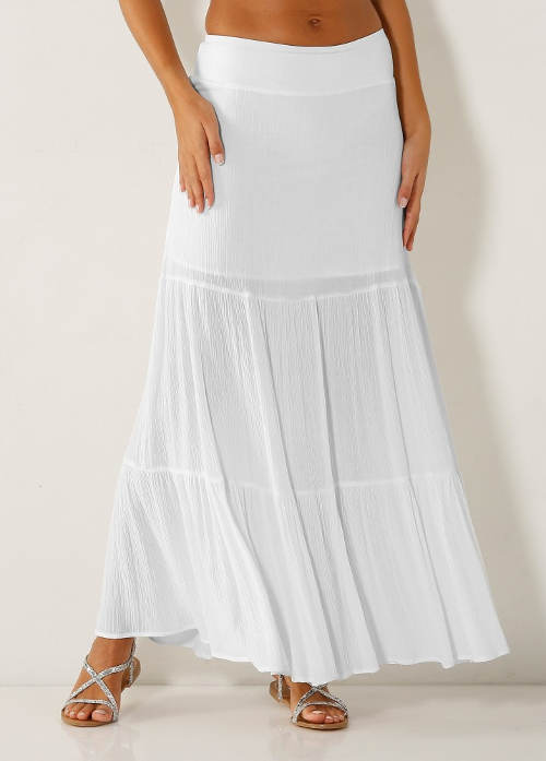Dlouhá bílá jednobarevná sukně