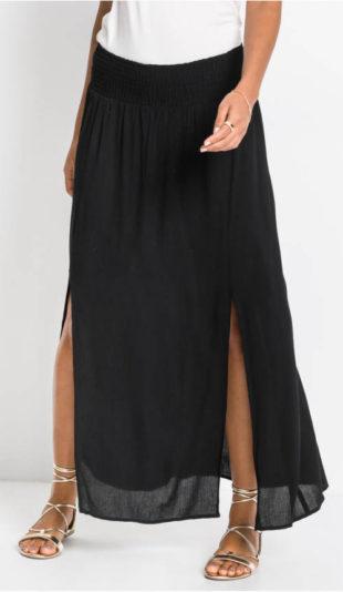 Dlouhá černá dámská sukně s rozparky
