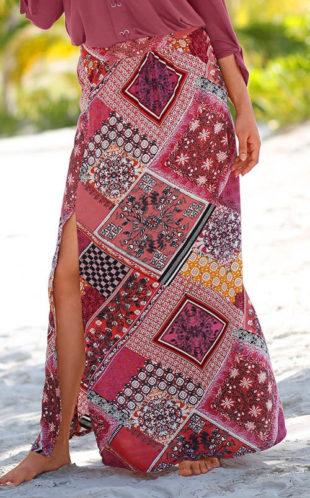 Dlouhá patchworková letní sukně