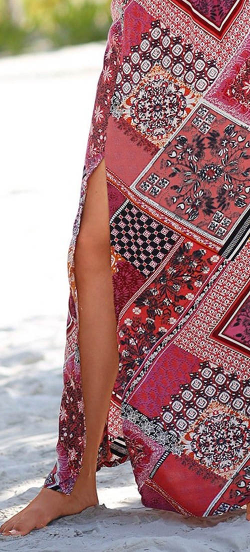Dlouhá plážová sukně patchwork