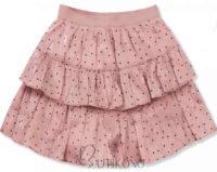 Krátká růžová tečkovaná vrstvená sukně