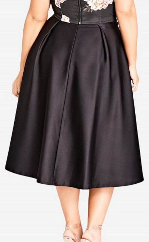 Lesklá společenská midi sukně