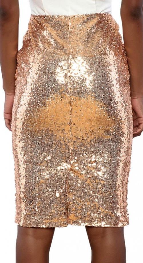 Lesklá zlatá sukně