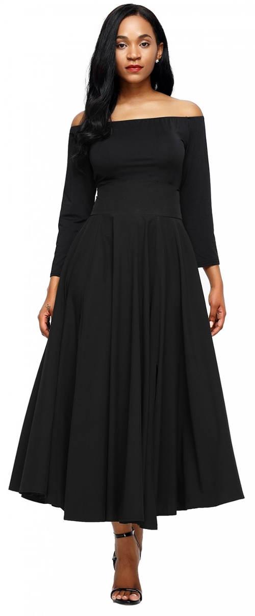 Široká černá sukně se společenským pasem