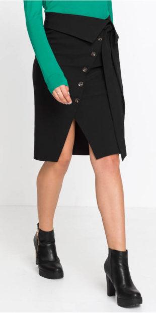 Zavinovací společenská sukně s knoflíkovou légou