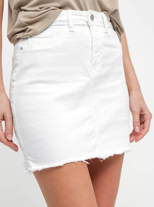 Bílá džínová sukně na knoflk