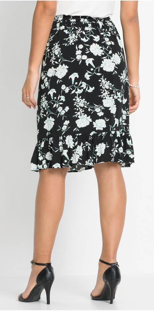 Černá květinová společenská sukně