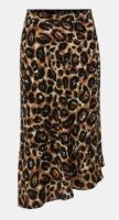Černo-hnědá asymetrická midi sukně s gepardím vzorem