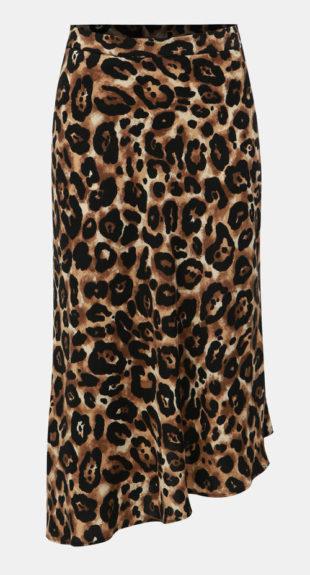 64752e732a46 Černo-hnědá asymetrická midi sukně s gepardím vzorem