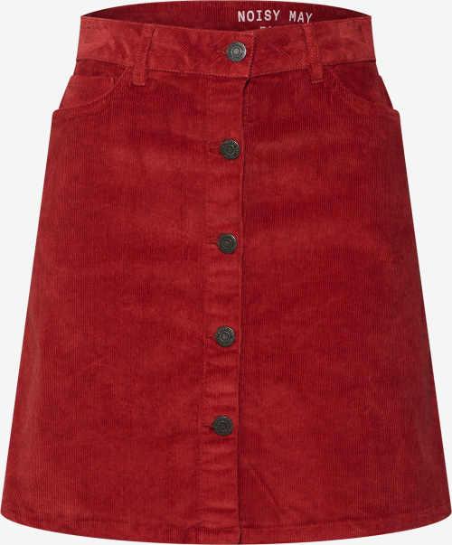 Červená áčková sukně s rozepínací přední stranou na knoflíky