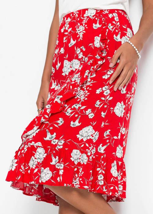 Červená letní midi sukně