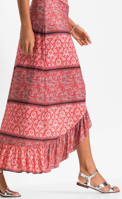 Dlouhá červená etno sukně
