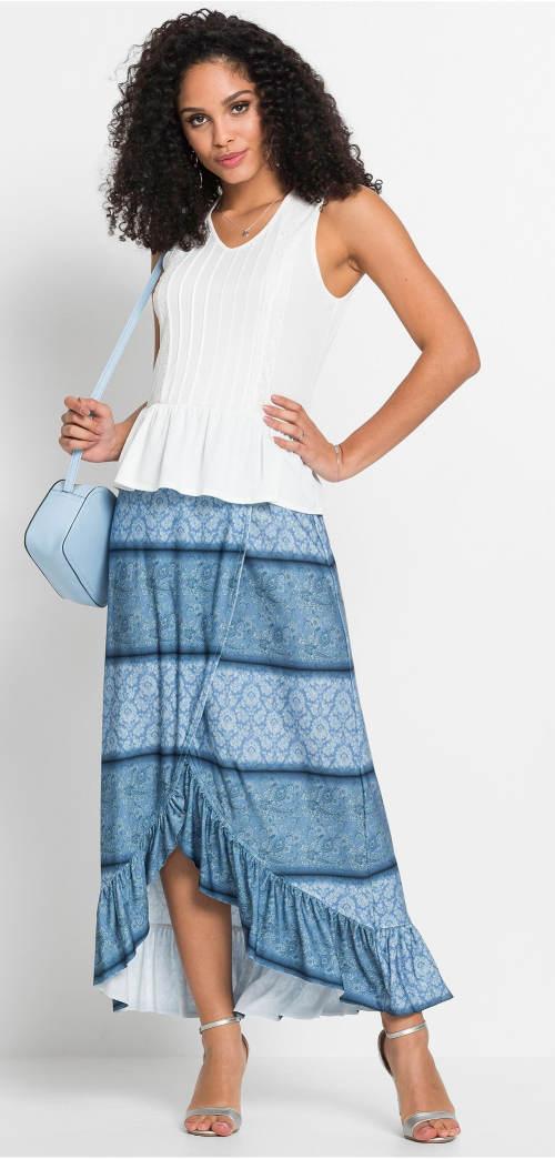 Dlouhá modrá zavinovací sukně