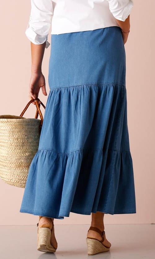 Dlouhá riflová sukně s volány