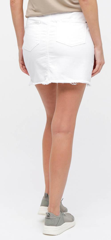 Jednobarevná bílá riflová sukně