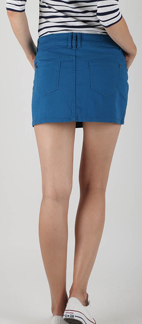 Modrá džínová sukně s kapsami