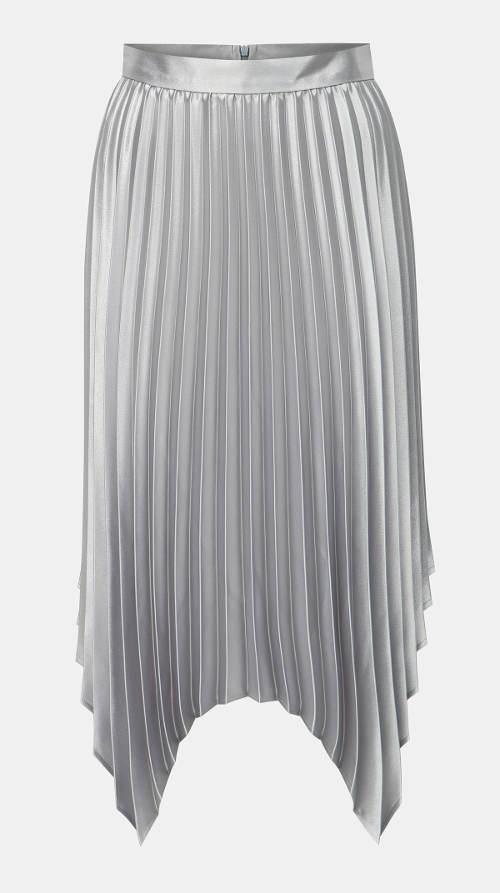 Stříbrná plisovaná sukně s cípy