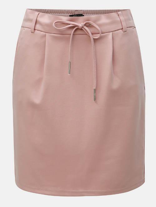 Světle růžová krátká rovná sukně bez vzoru
