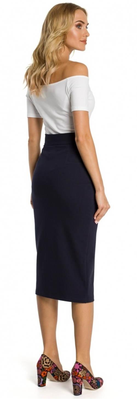 Tmavě modrá společenská midi sukně