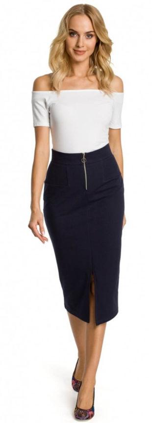 Úplá pouzdrová společenská sukně s vyšším pasem