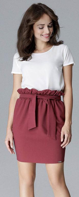 Vínová sukně s řaseným pasem