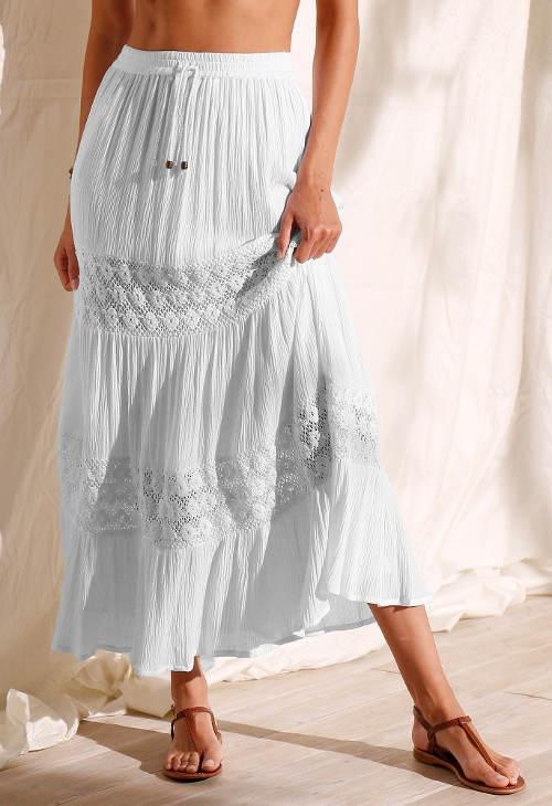 Bílá maxi sukně s krajkou